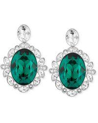Swarovski Rhodium-plated Green Crystal Drop Earrings - Lyst