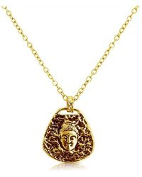 Belcho - Hammered Buddha Head With Black Tone Pendant Necklace - Lyst