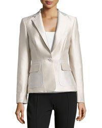 Carolina Herrera Silk-cotton One-button Mikado Jacket - Lyst