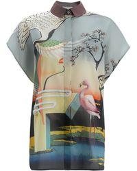 Mary Katrantzou Fenmore Top Cotton Flamingo - Lyst