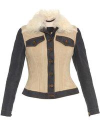 Burberry Prorsum Denim-Panel Shearling Jacket blue - Lyst