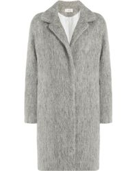 Vanessa Bruno Athé | Vanessa Bruno Athé Coat With Wool, Mohair And Alpaca - Grey | Lyst