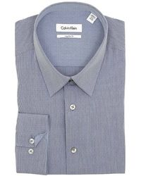 Calvin Klein Mens Deep Sea Blue Striped Cotton Dress Shirt - Lyst