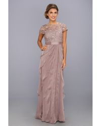 Adrianna Papell Lace Bodice W Flutter Skirt - Lyst