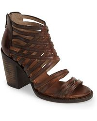 Freebird by Steven 'Wing' Strappy Leather Bootie brown - Lyst