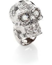 Alexander McQueen Crystal Sliced Skull Ring - Lyst