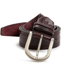 Canali Perforated Leather Belt brown - Lyst