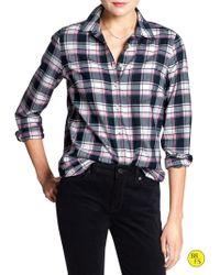 Banana Republic Factory Check Flannel Shirt  Black Check - Lyst