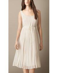 Burberry Sleeveless Pleated Silk Dress - Lyst