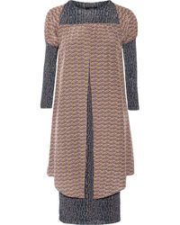 Suno Printed Wool-Blend Jersey And Silk-Crepe Dress - Lyst