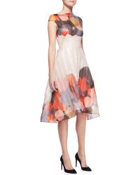 Lela Rose Printed Capsleeve Drapedbodice Dress - Lyst