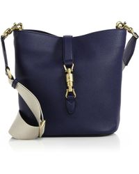 Gucci Jackie Soft Leather Bucket Bag blue - Lyst