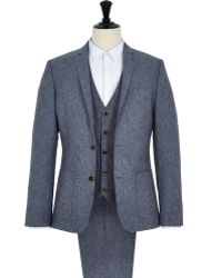 River Island Blue Holloway Road Linen Blend Suit Jacket - Lyst