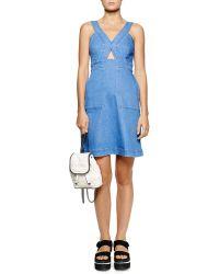 Stella McCartney Cutout Strappy Denim Dress - Lyst