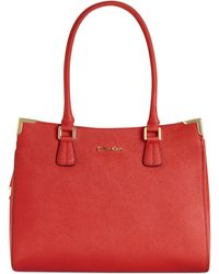 Calvin Klein On My Corner Saffiano Leather Satchel - Lyst