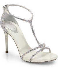 Rene Caovilla Jeweled Strappy T-Strap Sandals - Lyst