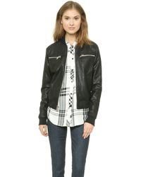 Rta Leather Bomber Jacket - Tar - Lyst