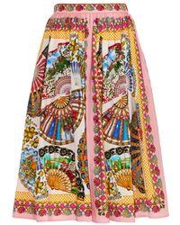 Dolce & Gabbana Fan-Print Cotton Full Skirt white - Lyst