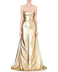 Antonio Berardi Metallic-jacquard Strapless Gown - Lyst
