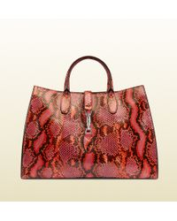 Gucci Jackie Soft Python Top Handle Bag - Lyst