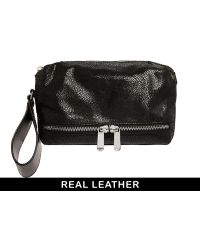 Asos Leather Clutch Bag with Wrist Loop - Lyst