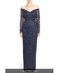 Helen Morley - Off The Shoulder Guipure Lace Column Gown - Lyst