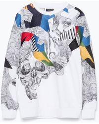 Zara Printed Sweatshirt white - Lyst