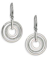 Michael Kors Brilliance Statement Circular PavÉ Drop Earrings silver - Lyst
