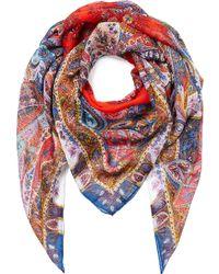 Etro Paisley Print Silk Scarf - Lyst