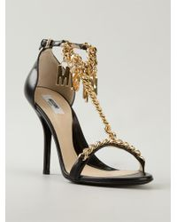 Moschino Logo Chain Sandals - Lyst