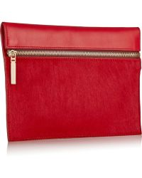 Victoria Beckham Small Calf Hair and Leather Clutch - Lyst