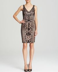 Sue Wong Dress Sleeveless V Neck Contrast Soutache - Lyst