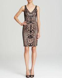 Sue Wong Dress Sleeveless V Neck Contrast Soutache - Lyst