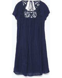 Zara Crochet Dress - Lyst