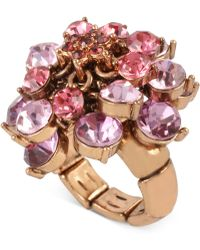 Betsey Johnson - Rose Gold-tone Pink And Purple Crystal Cluster Stretch Ring - Lyst
