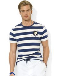 Ralph Lauren Polo Customfit Striped Jersey Crew Neck Tshirt - Lyst