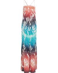 Diane Von Furstenberg Annie Printed Washedsilk Maxi Dress - Lyst