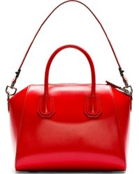 Givenchy Red Leather Antigona Small Duffle Bag - Lyst