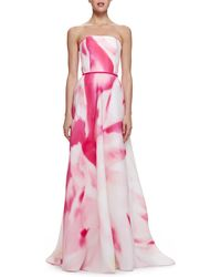 Carolina Herrera Watercolor-Print Strapless Gown - Lyst
