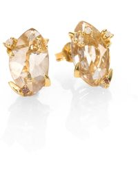 Alexis Bittar Fine Honey Gold Marquis Rutilated Quartz, Multicolor Diamond, Citrine & 18K Yellow Gold Earrings - Lyst