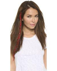 Serefina - Sari Silk Yarn Beaded Hair Clip - Teal - Lyst