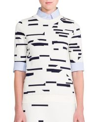 Jil Sander Abstract Intarsia Sweater Top - Lyst