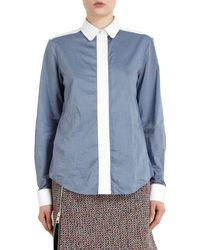 Chloé Contrast Placket Chambray Blouse - Lyst