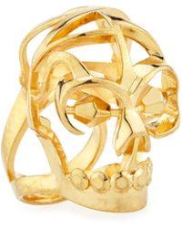 Alexander McQueen Deco Skull Large Open Ring - Lyst