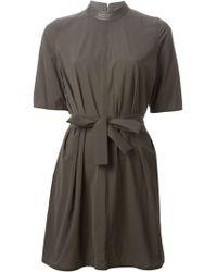 Rick Owens Band Collar Dress brown - Lyst