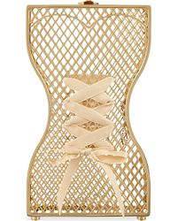 Charlotte Olympia Corseted Bodice Clutch Gold - Lyst