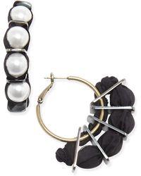 Lanvin - Grosgrain & Pearly Hoop Earrings - Lyst