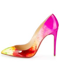 Christian Louboutin Pigalle Follies Patent Point-Toe Red Sole Pump - Lyst