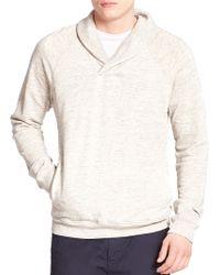 Splendid Mills Shawl-Collar Thermal Sweatshirt beige - Lyst