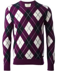 Burberry Argyle Pattern Sweater - Lyst